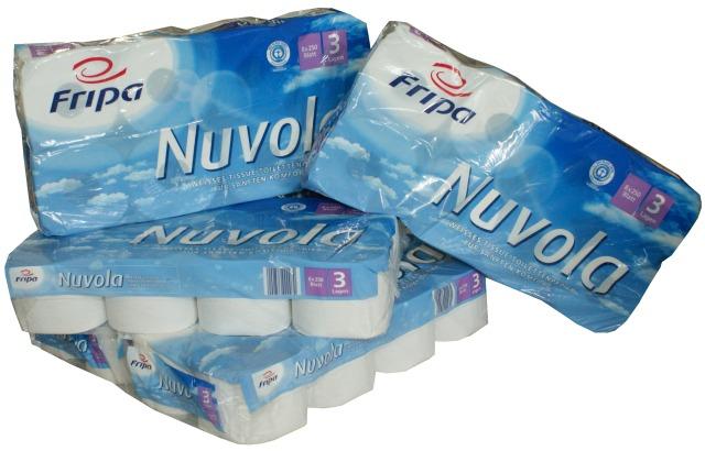 Fripa - Toilettenpapier nuvola, 2-lagig, (8 Pack á 8 x 250 Bl.)