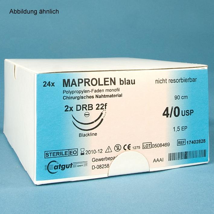 MAPROLEN DS 19 3/0=2, monofil, blau, Nahtmaterial Fadenlänge 45 cm (24Stck.)