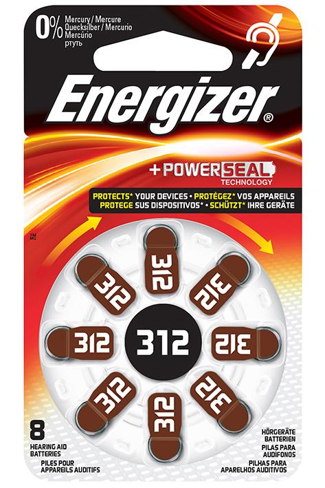 Energizer Batterie Typ 312 1,4 V, für Hörgeräte (8 Stck.)