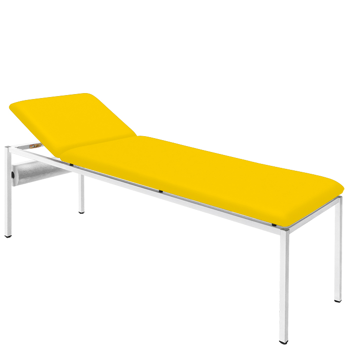 Untersuchungsliege gelb, lackiert inkl. Rollenhalter, Polster 65 mm