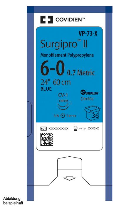 Surgipro II monofil P-13 5/0=1, blau, Nahtmaterial Fadenlänge 45 cm (12 Stck.)