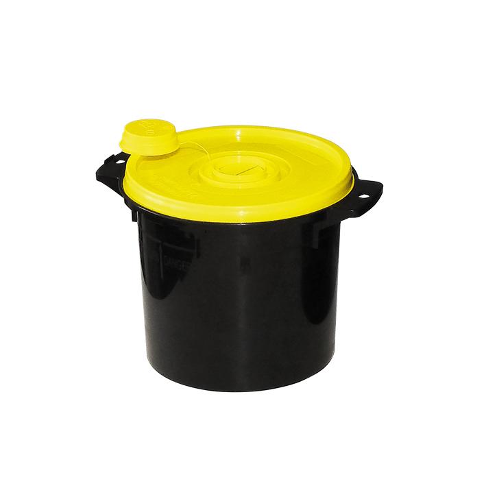 Kanülenabwurfbehälter schwarz 5,0 Ltr., gelber Deckel