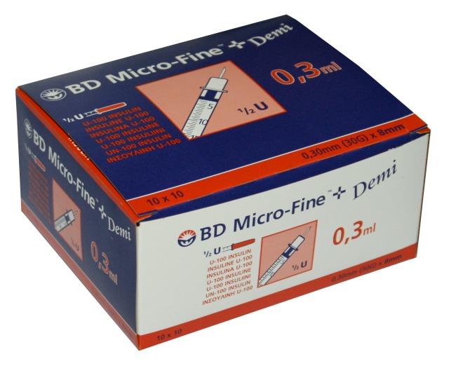 BD Micro-Fine+ Insulinspritzen Demi, 0,3 ml, U-100 (100 Stck.), mit Kanüle 0,30 x 8 mm