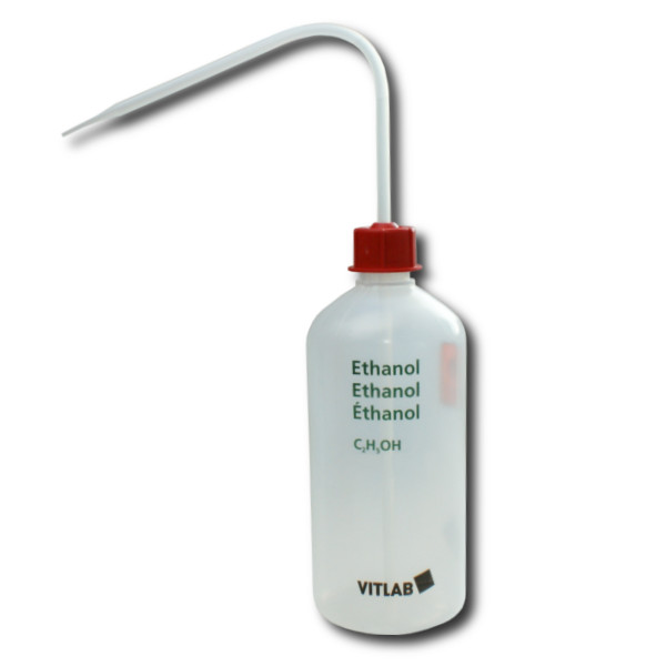 VITsafe Sicherheitsspritzflasche, PE-LD, GL 25, Aufdruck: Ethanol, 500 ml