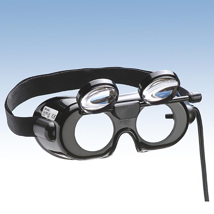 Nystagmusbrille nach Frenzel, klappbaren Gläsern