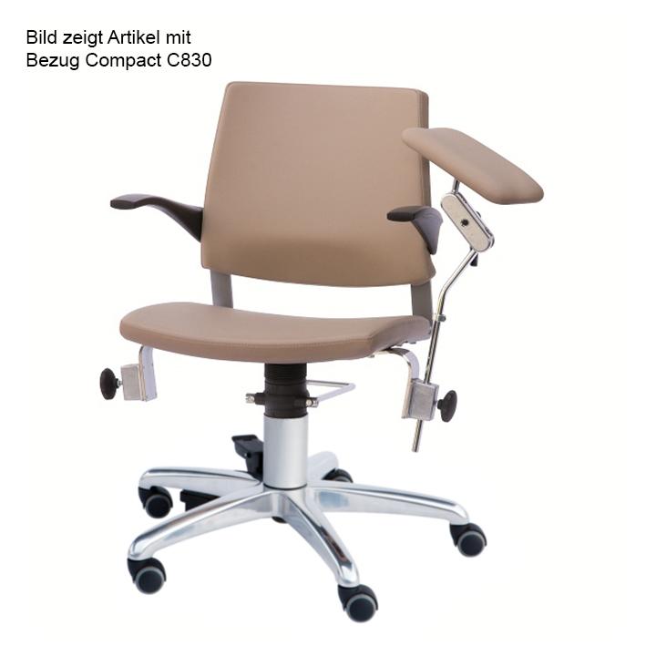 Blutentnahmestuhl Serie 22, Rollen, und beweglicher Rückenlehne, Bezug compact beigebraun