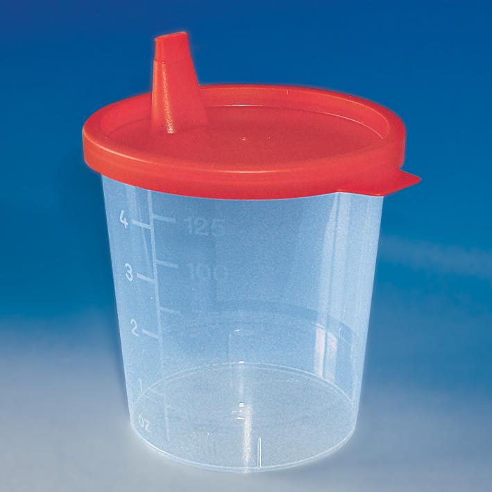 Urinbecher 125 ml mit Schnappdeckel, rot im Karton (500 St.)