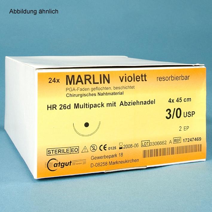 MARLIN HR 17 5/0=1, violett, Nahtmaterial Fadenlänge 70 cm (24 Stck.)