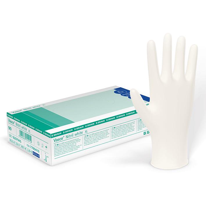 Vasco Nitril white U.-Handschuhe, PF, Gr. M, unsteril (100 Stck.)