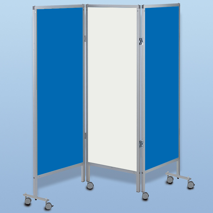 Wandschirm 3-flügelig, fahrbar, Farbe: blau/weiß/blau