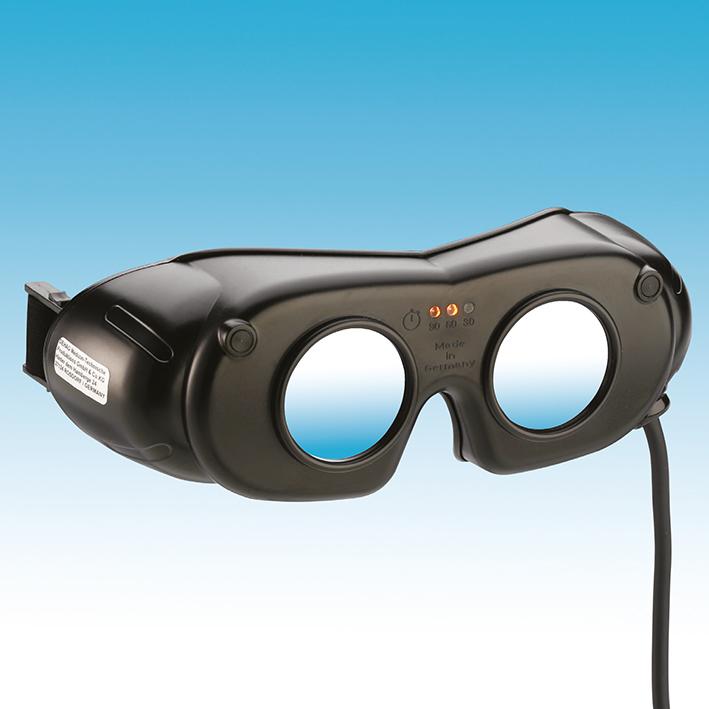 LED Nystagmusbrille schwarz, Kabelversion mit Schaltgehäuse, und Netzteil inkl. Clip-Kopfband
