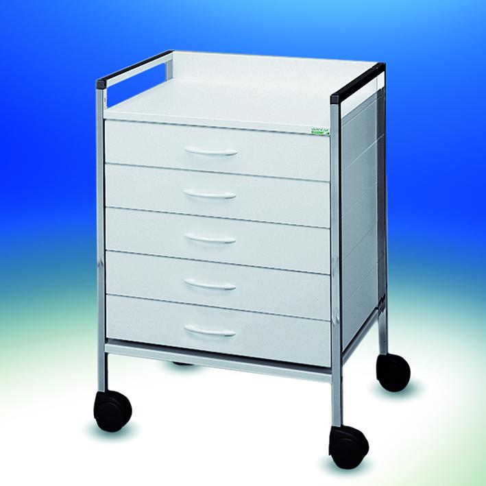 Variocar 60 Basiswagen, 830 mm hoch, 5 Schubladen, weiß