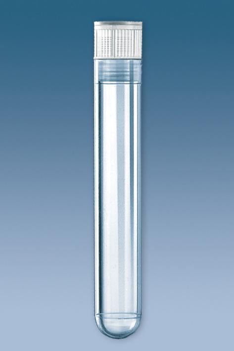 PS-Röhrchen 13 ml, 95 x 16,8 mm, steril, m.montiertem Eindrückstopfen (100 Stck.)