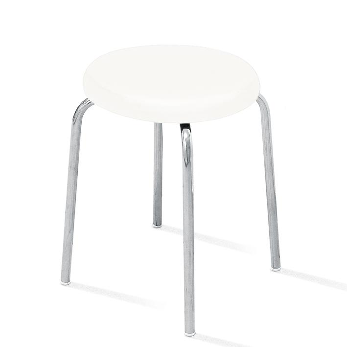 Stapelhocker Sitzschale gepolstert weiß