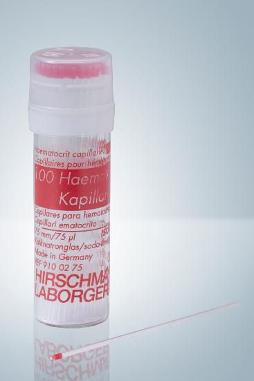 Einmal-Haematokritkapillaren 75 µl, na-hep. (10 x 100 Stck.)