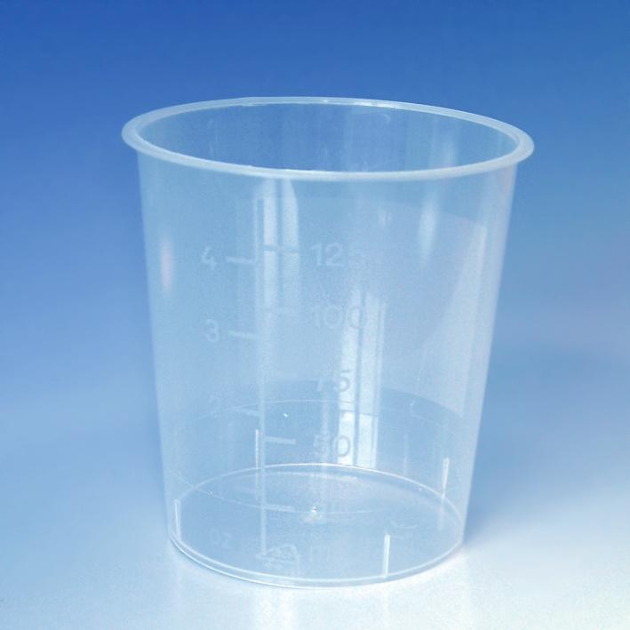 Urinbecher 125 ml ohne, Schnappdeckel rot (1000 St.)