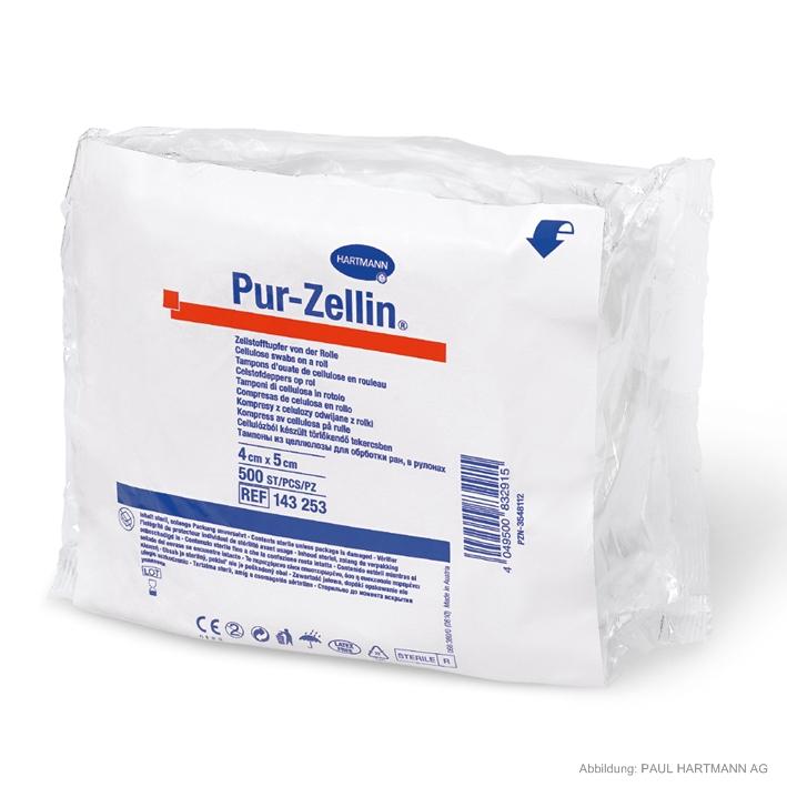 Pur-Zellin steril 4 x 5 cm, Zellstofftupfer (1 Rl. à 500 Stck.)