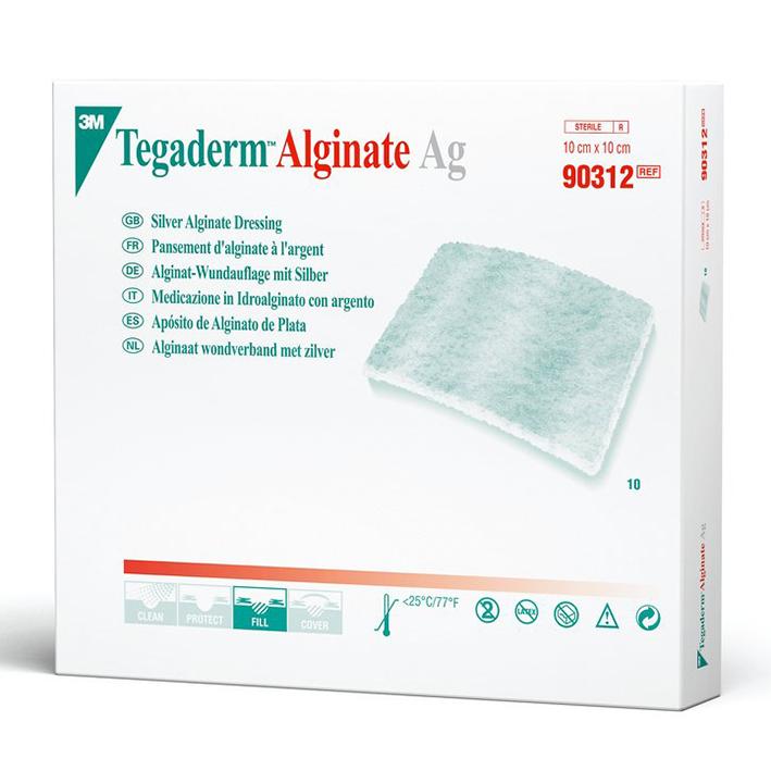 TEGADERM Alginate AG Wundauflage, Silber 10 x 10 cm (10 Stck.)