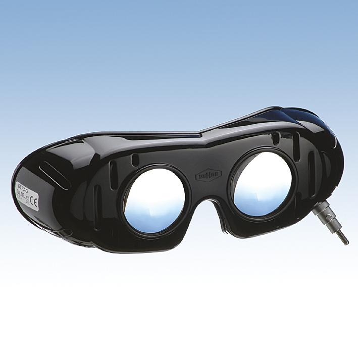 Nystagmusbrille nach Frenzel, Bajonettverschluss, Batteriegriff, und festen Gläsern