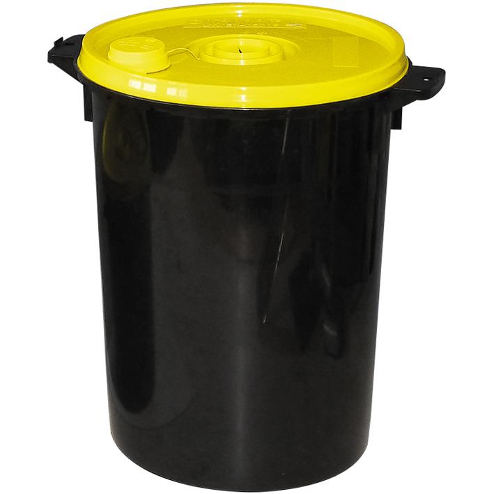Kanülenabwurfbehälter schwarz 20,0 Ltr., gelber Deckel