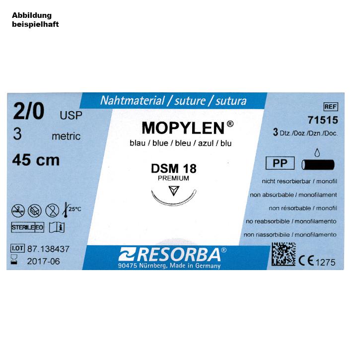 MOPYLEN DSM 18 3/0=2 blau monofil, Nahtmaterial Fadenlänge 45 cm (36 Stck.)