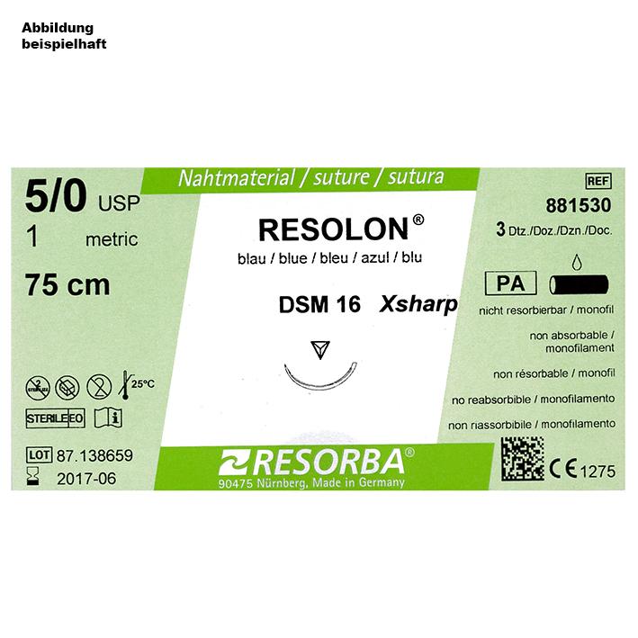 RESOLON DSM 16 3/0=2 blau monofil, Nahtmaterial Fadenlänge 45 cm (36 Stck.)