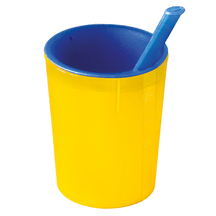 medizinische Trinkhilfe gelb-blau, 200 ml