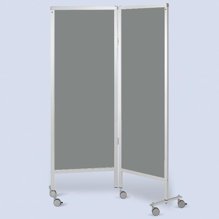Wandschirm 2-flügelig, fahrbar, Farbe: grau/grau