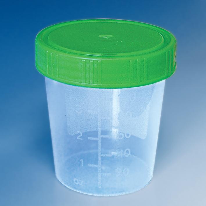 Urinbecher 100/125 ml mit Schraubdeckel grün (500 St.)