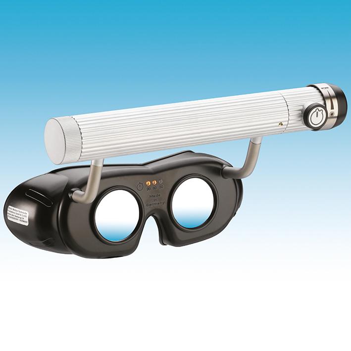 LED Nystagmusbrille schwarz, Batterieversion