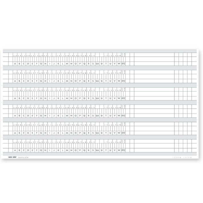 Alphabetleistenaufkleber DIN A4 aus unzerreißbarer PP-Folie (100 Stck.)
