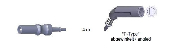Bipolar Anschlusskabel, ERBE -> P-TYPE abgewinkelt, 4,0 mtr.