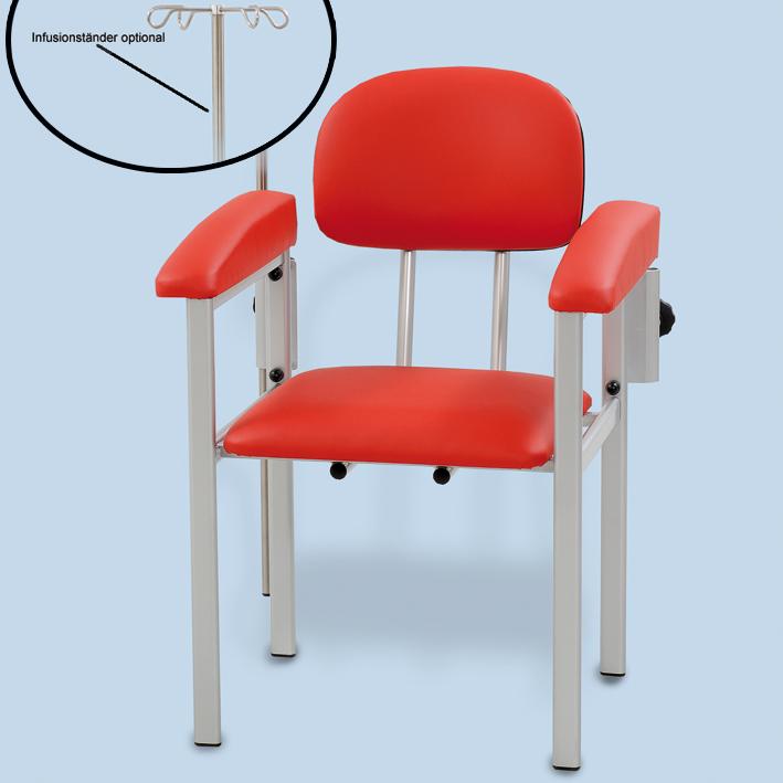 Blutentnahmestuhl mit zwei Armauflagen, Kunstleder rot