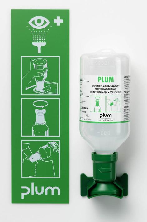 Plum Augenspülstation mit 1 Flasche, inkl. Wandhalter und Piktogramm