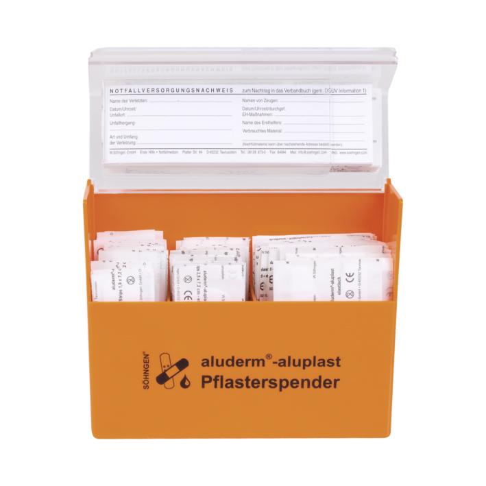aluderm-aluplast Pflasterspender orange Erwachsene, gefüllt