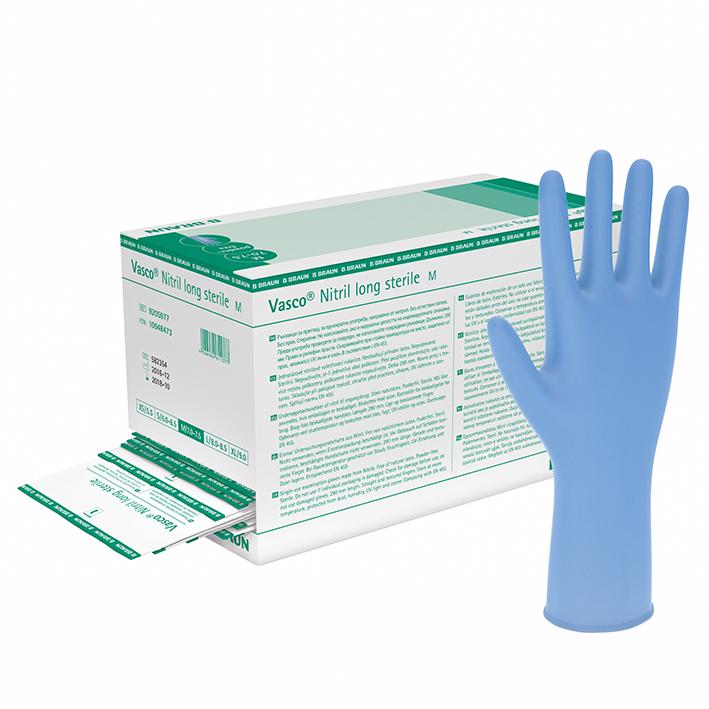 Vasco Nitril long U.-Handschuhe, PF, Gr. M, steril (50 Paar)