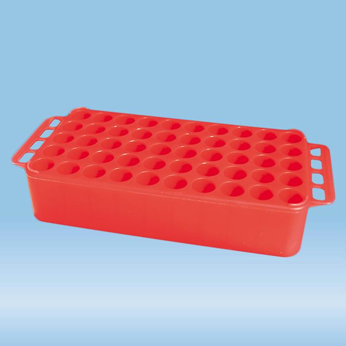Block-Rack D 17 mit Griff, rot, 50 Bohrungen 17 mm, ohne Druck