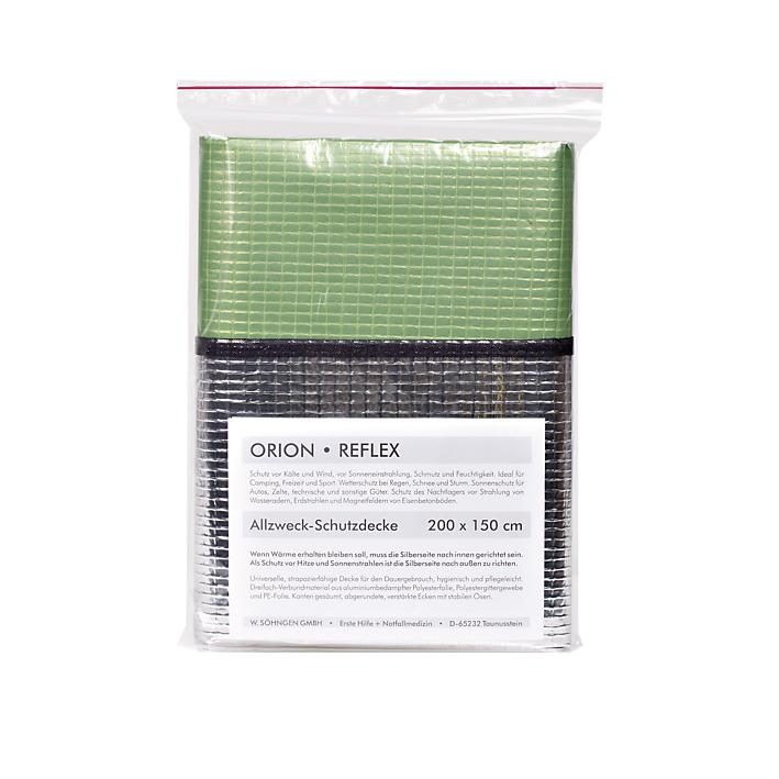 ORION-Reflex-Decke, silber-grün, ca. 200 x 150 cm
