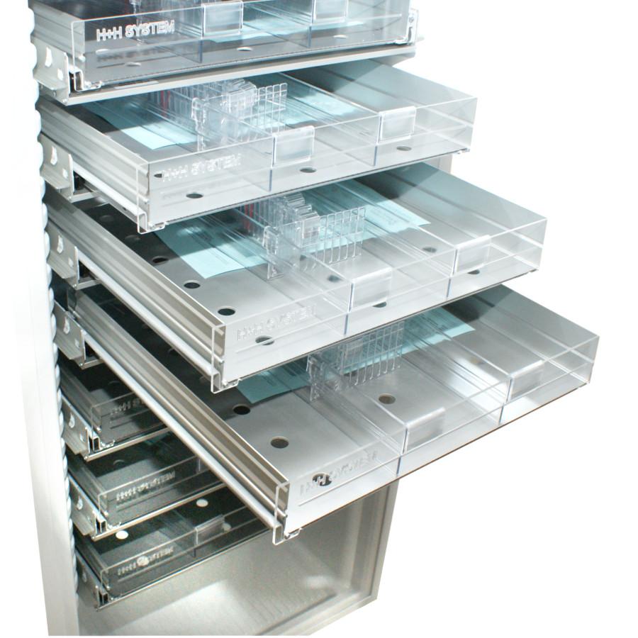 Aluminiumschublade für 16xx, 39xx, 40xx, Transp. Vorderseite, gelocht, 3-bahnig, 12 Univ.teiler