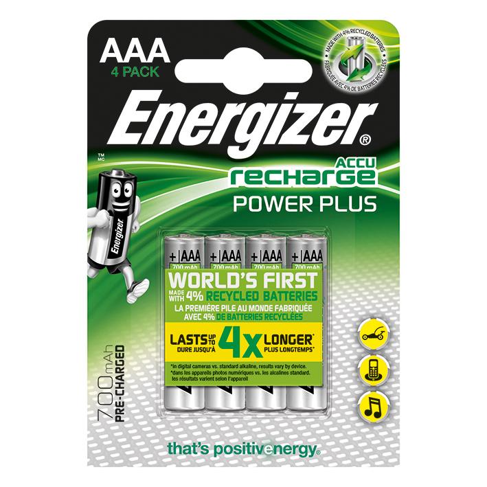 Energizer NiMH Akkumulatoren Power, Plus Micro AAA HR03 1,2 V 700 mAh (4er-Pack),