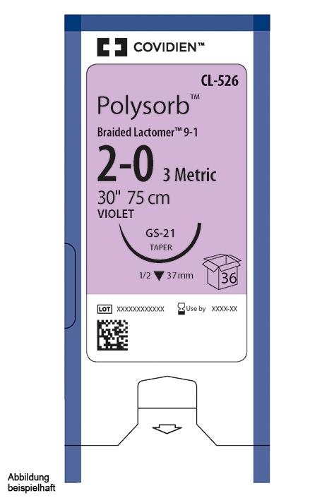 Polysorb geflochten CV-23 5/0=1 violett, Nahtmaterial Fadenlänge 75 cm (36 Stck.)