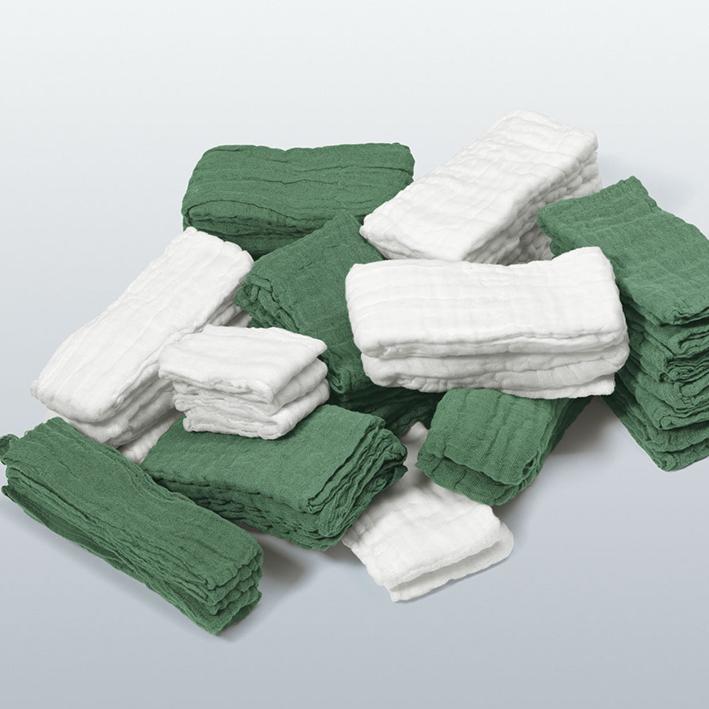 Cutisoft Cotton Bauchtücher steril, 40 x 40 cm, 6-fach, grün (12x2 Stck.)