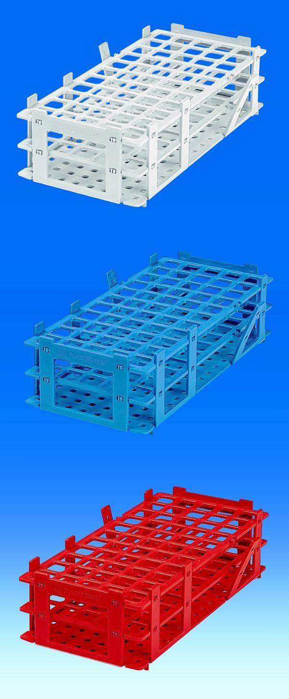 Reagenzglasgestell, PP, 55 Plätze, für Gläser bis Ø 18 mm, weiß