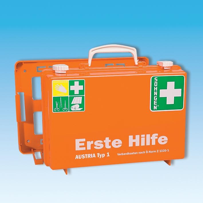 Erste-Hilfe Koffer SN-CD orange, Füllung Ö-Norm Z 1020-1