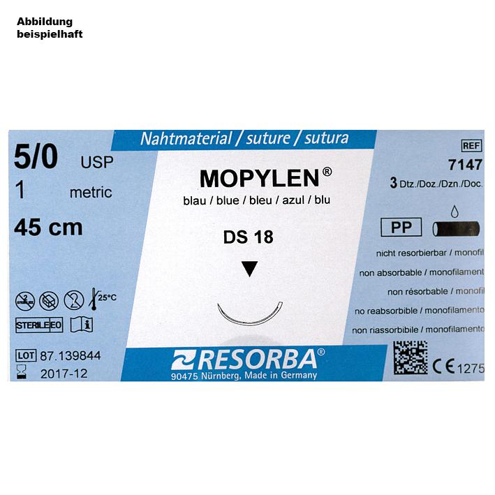 MOPYLEN DS 18 4/0=1,5 blau monofil, Nahtmaterial Fadenlänge 75 cm (36 Stck.)