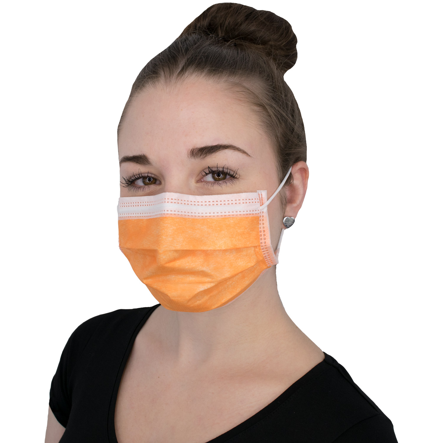 Mundschutz Soft Protect, 3-lagig, unsteril mit Gummi, orange, 50 St./Box