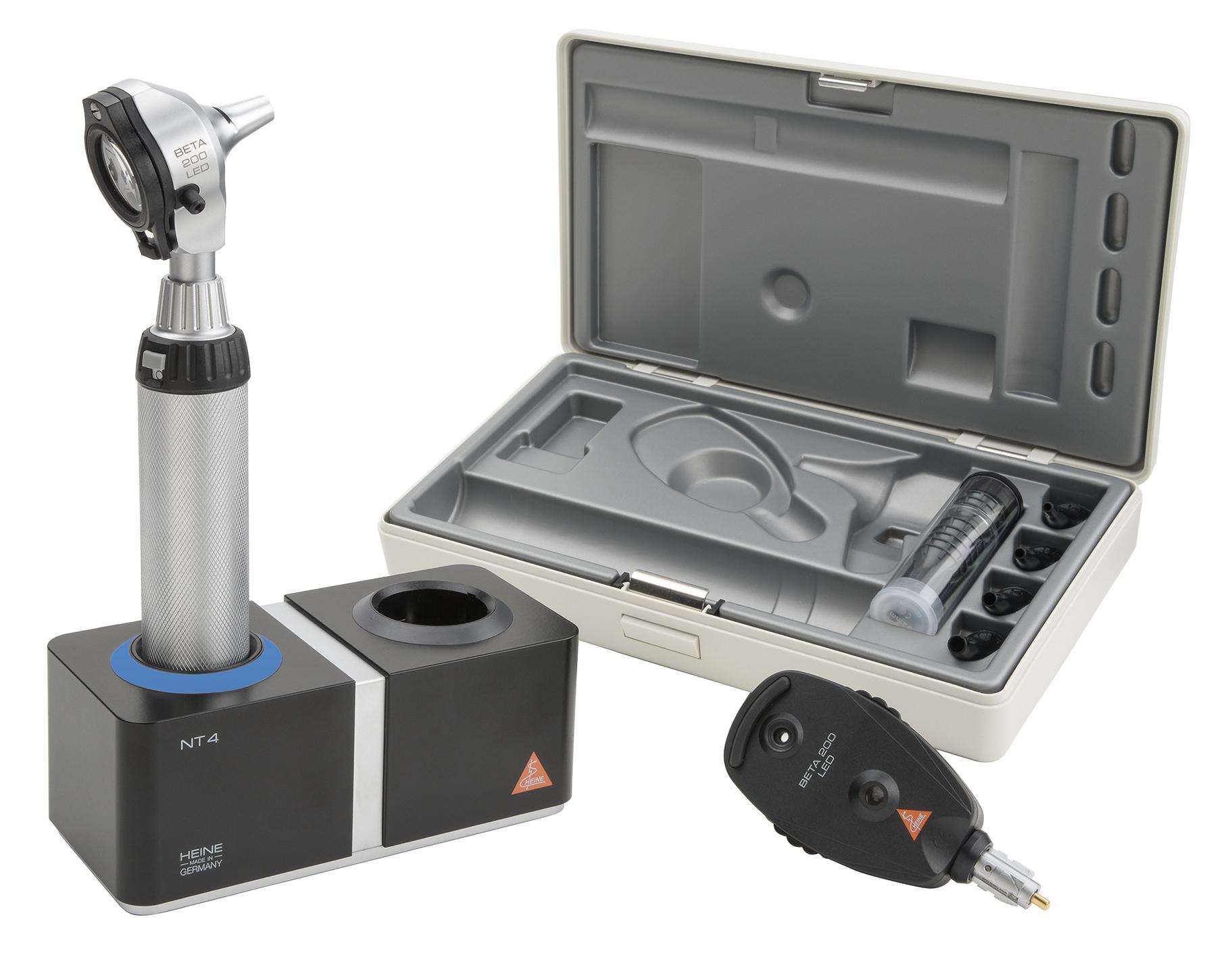 BETA 200 LED Ophthalmoskop/Otoskop Set, BETA 4 NT Ladegriff und NT4, Tisch-Ladegerät