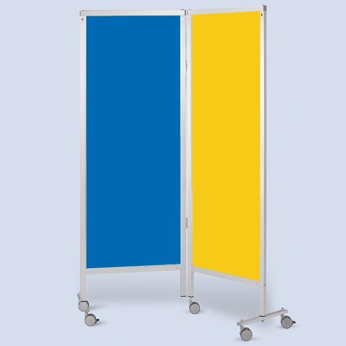 Wandschirm 2-flügelig, fahrbar, Farbe: blau/gelb