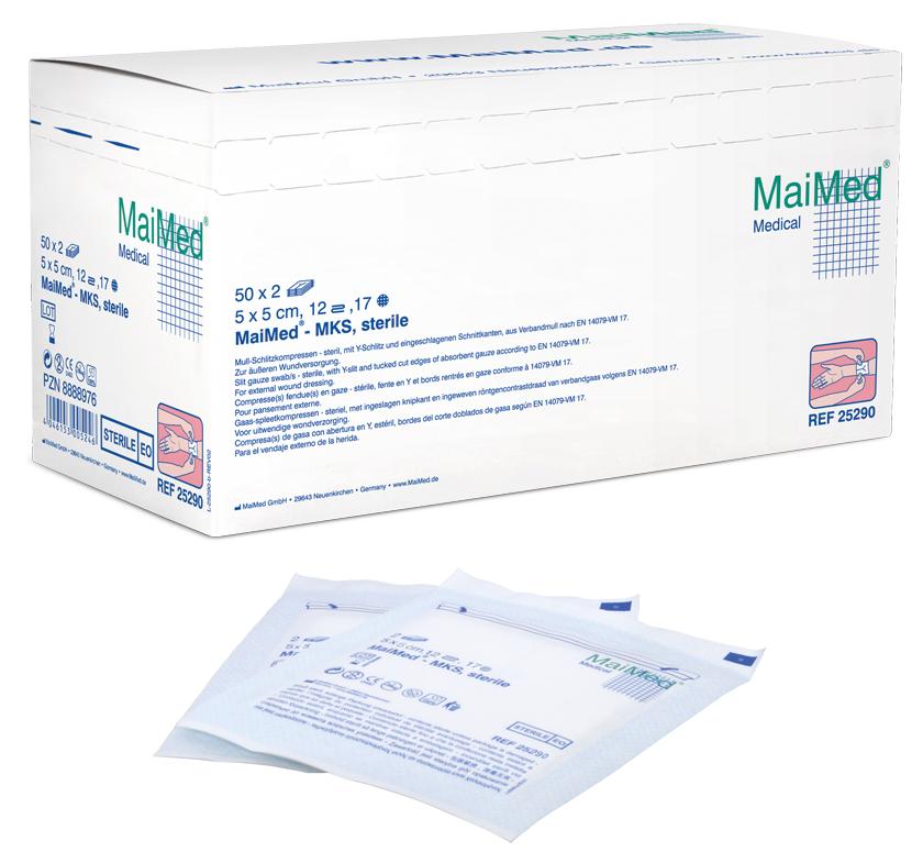 Mull-Schlitzkompressen, steril, 7,5x7,5 12-f., 50x2 St./Box