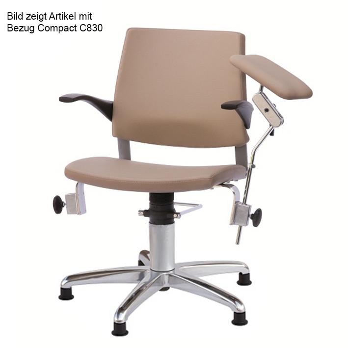 Blutentnahmestuhl Serie 22, Gleitern, und beweglicher Rückenlehne, Bezug compact beigebraun